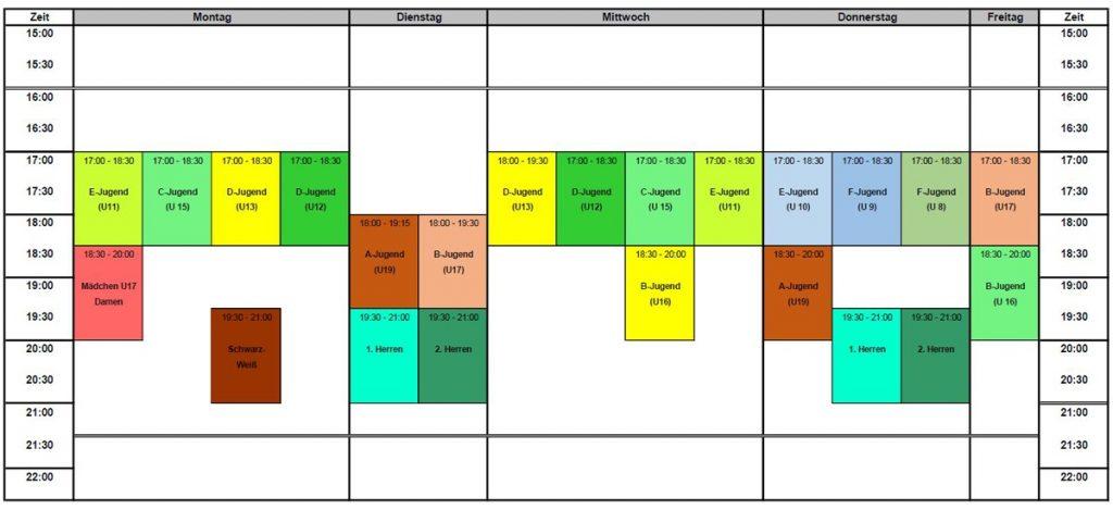 Trainingszeiten in den Sommerferien